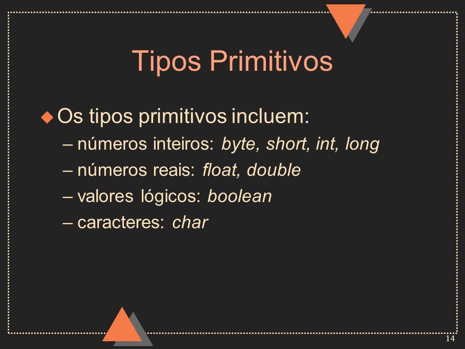 Tipos Primitivos Os tipos primitivos incluem: