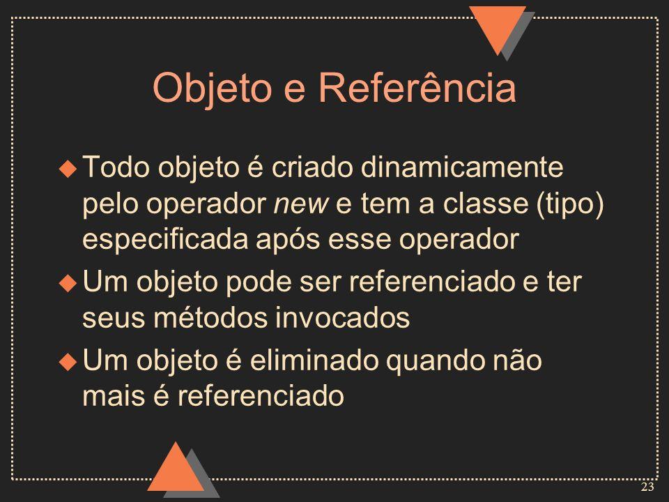 Objeto e Referência Todo objeto é criado dinamicamente pelo operador new e tem a classe (tipo) especificada após esse operador.