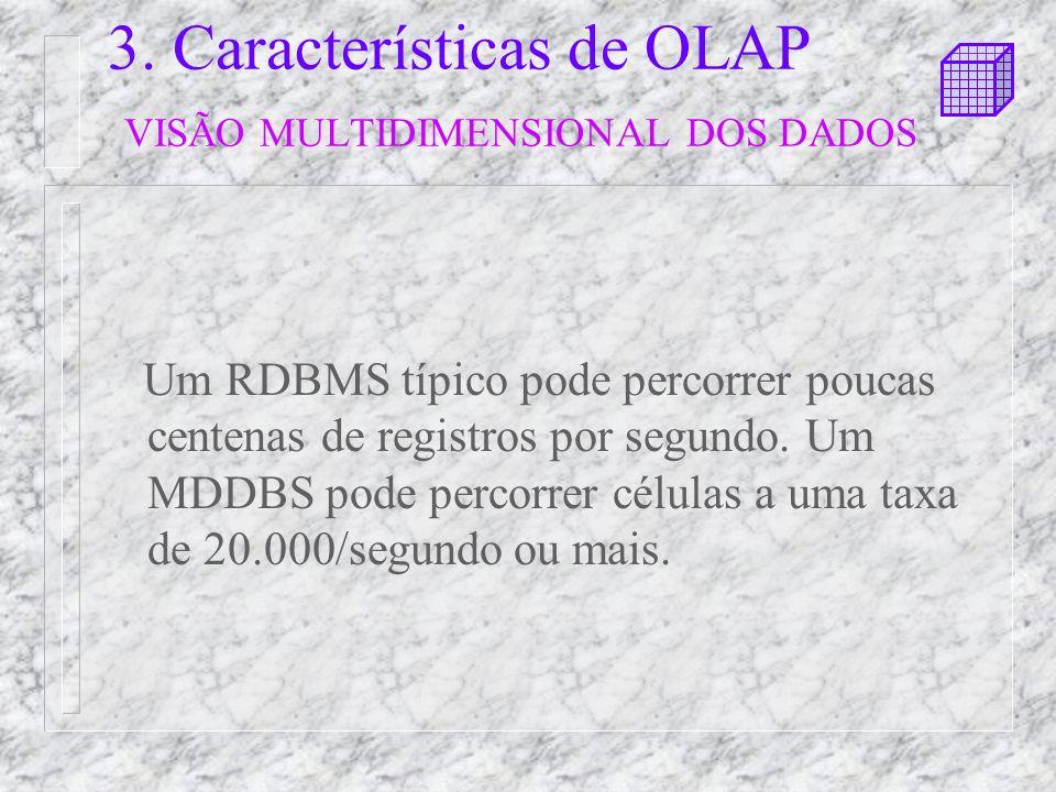 3. Características de OLAP VISÃO MULTIDIMENSIONAL DOS DADOS
