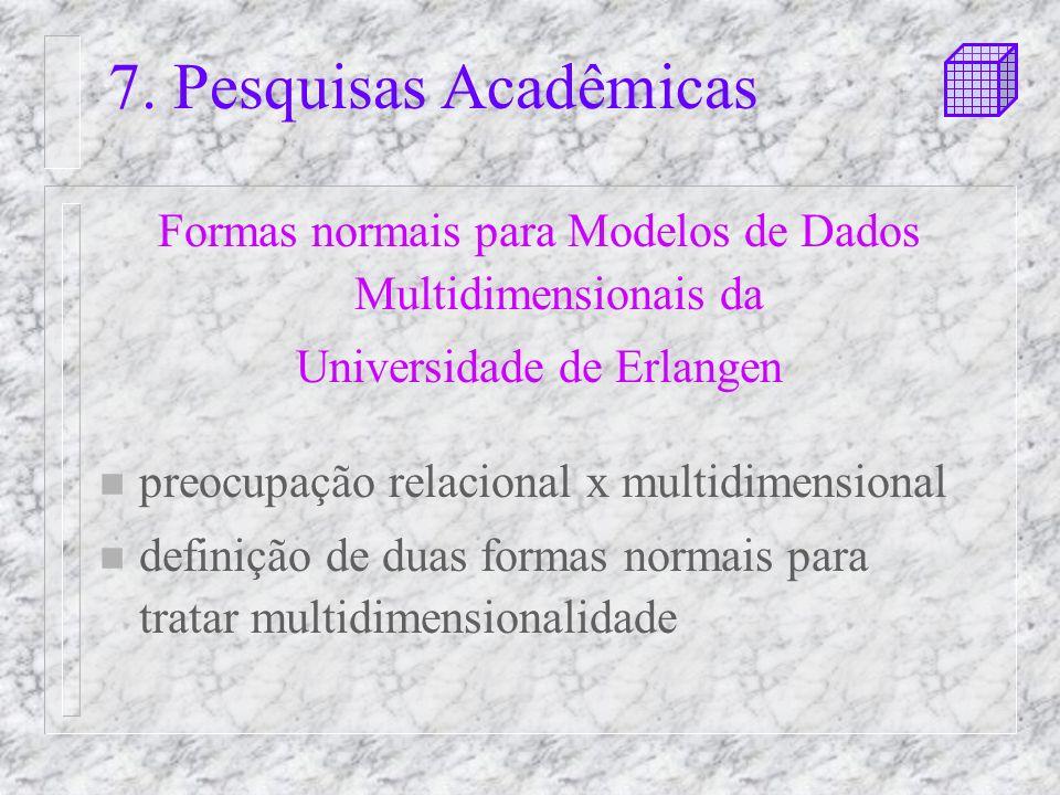 7. Pesquisas Acadêmicas Formas normais para Modelos de Dados Multidimensionais da. Universidade de Erlangen.