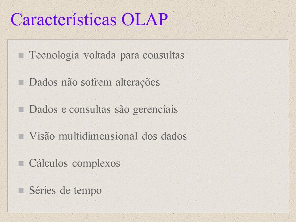 Características OLAP Tecnologia voltada para consultas