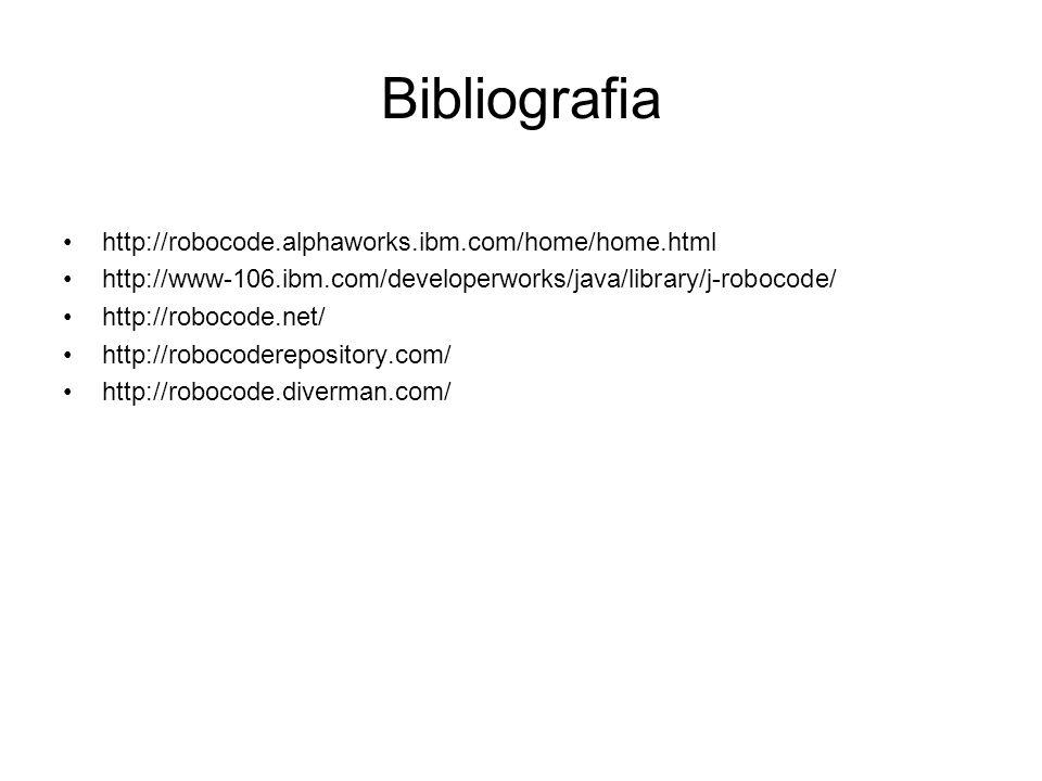 Bibliografia http://robocode.alphaworks.ibm.com/home/home.html