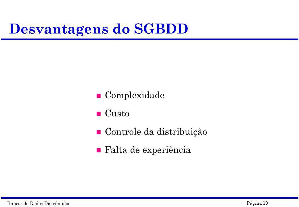 Desvantagens do SGBDD Complexidade Custo Controle da distribuição