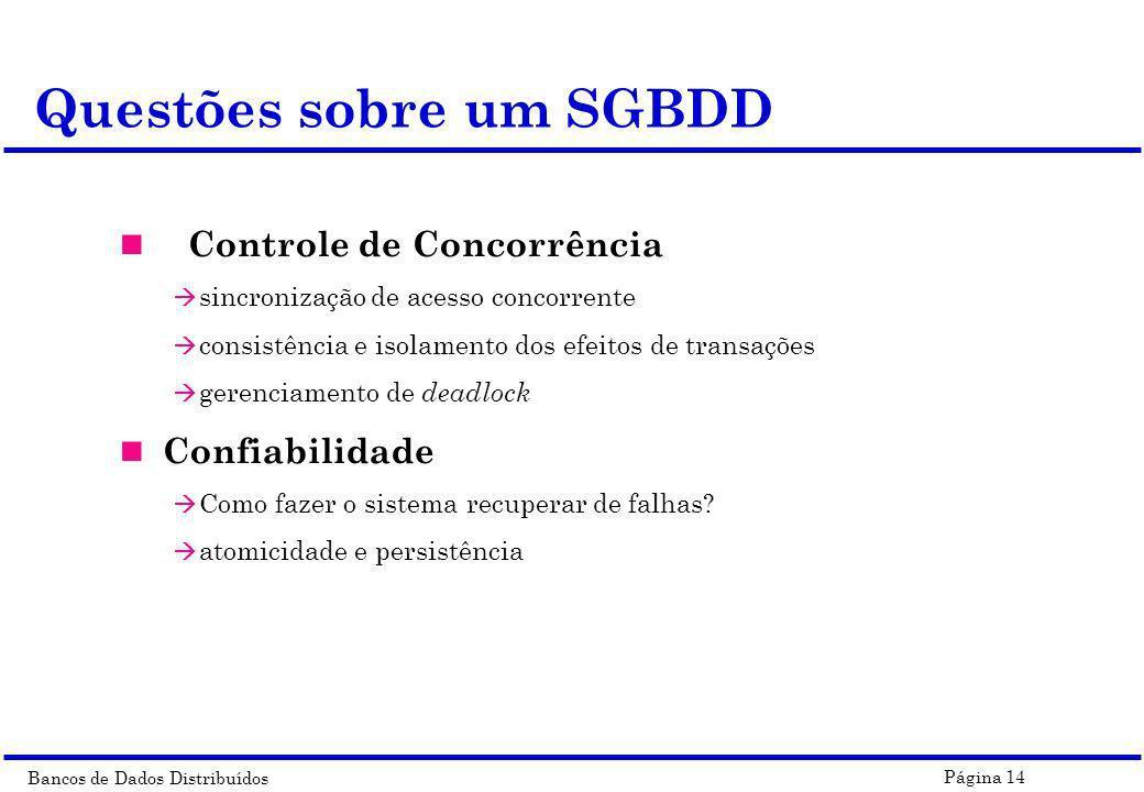 Questões sobre um SGBDD