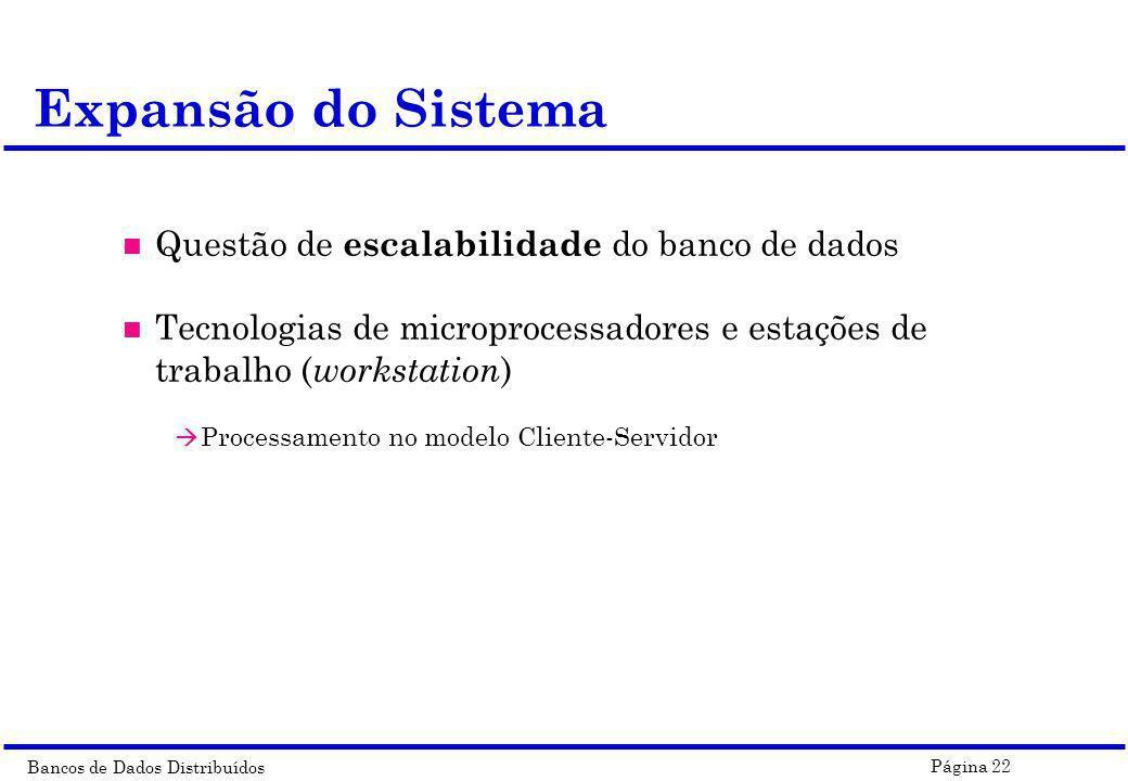 Expansão do Sistema Questão de escalabilidade do banco de dados