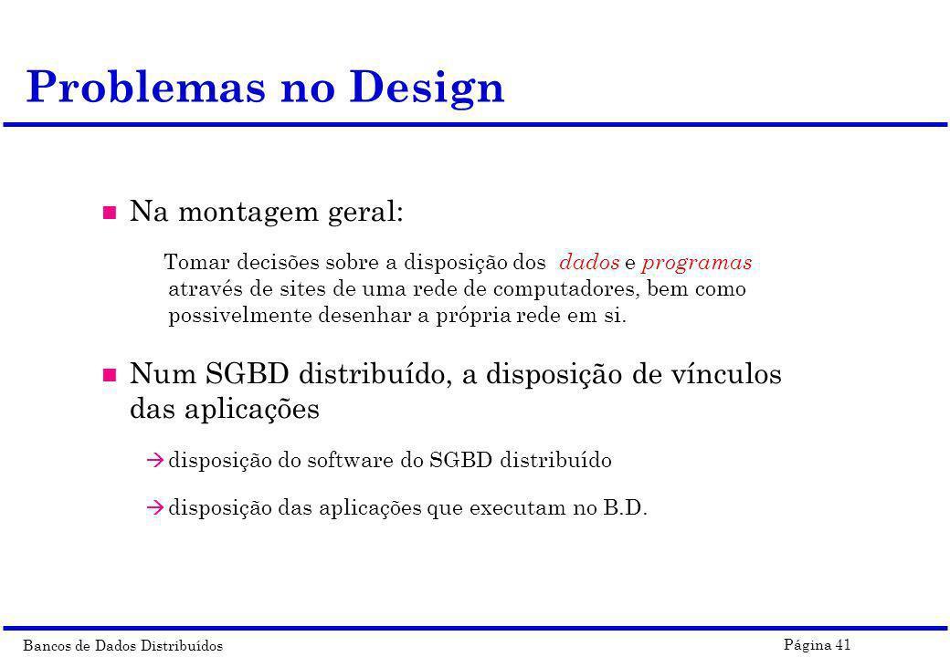Problemas no Design Na montagem geral:
