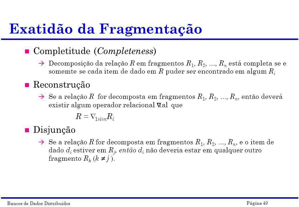 Exatidão da Fragmentação