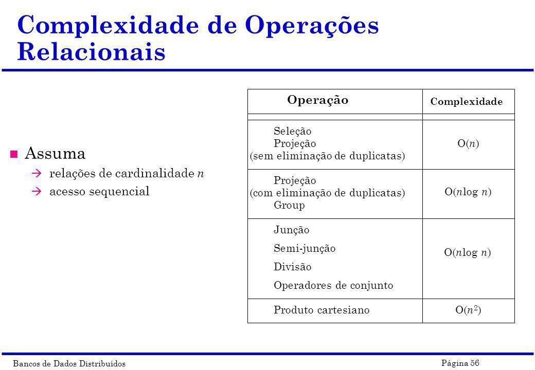 Complexidade de Operações Relacionais