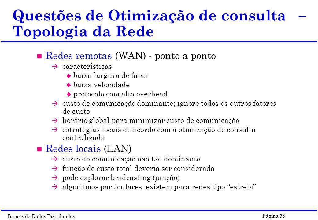 Questões de Otimização de consulta – Topologia da Rede