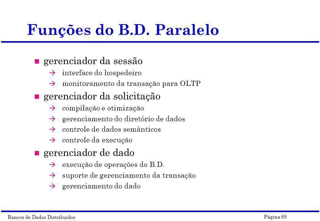Funções do B.D. Paralelo gerenciador da sessão