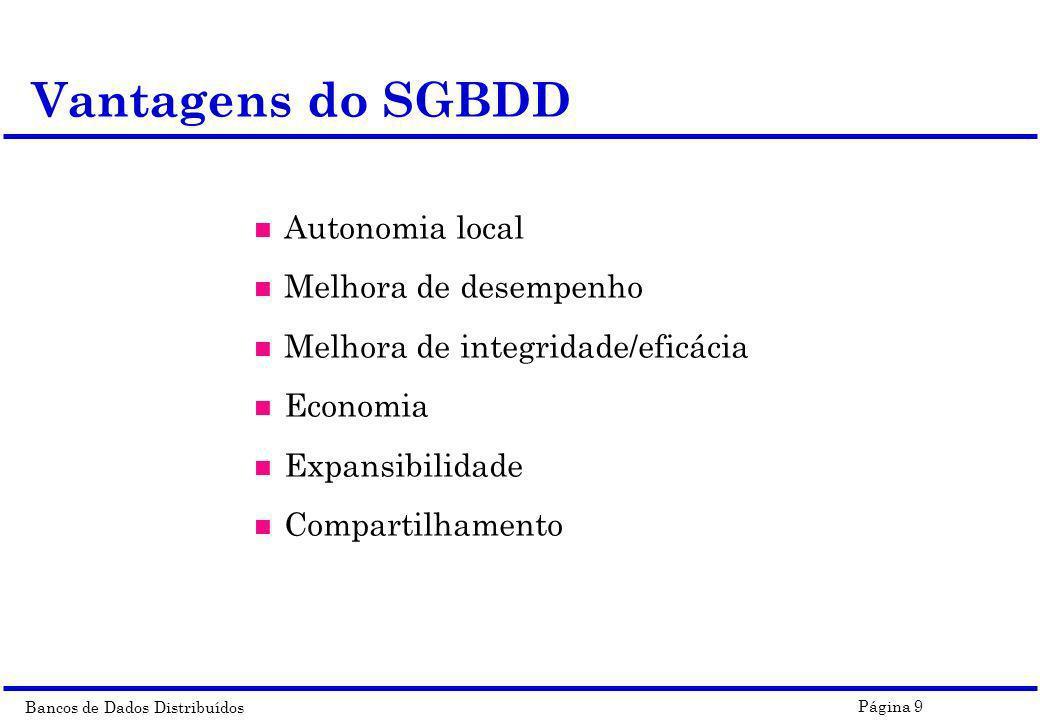 Vantagens do SGBDD Autonomia local Melhora de desempenho