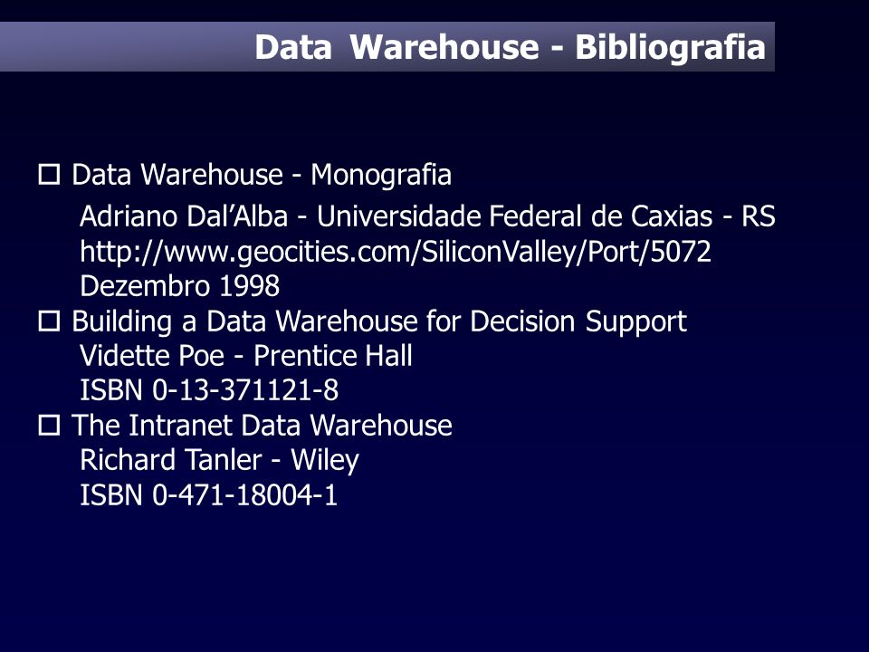 Data Warehouse - Bibliografia