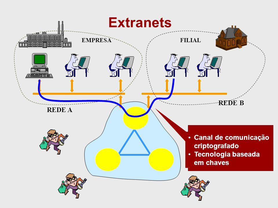 Extranets REDE B REDE A Canal de comunicação criptografado