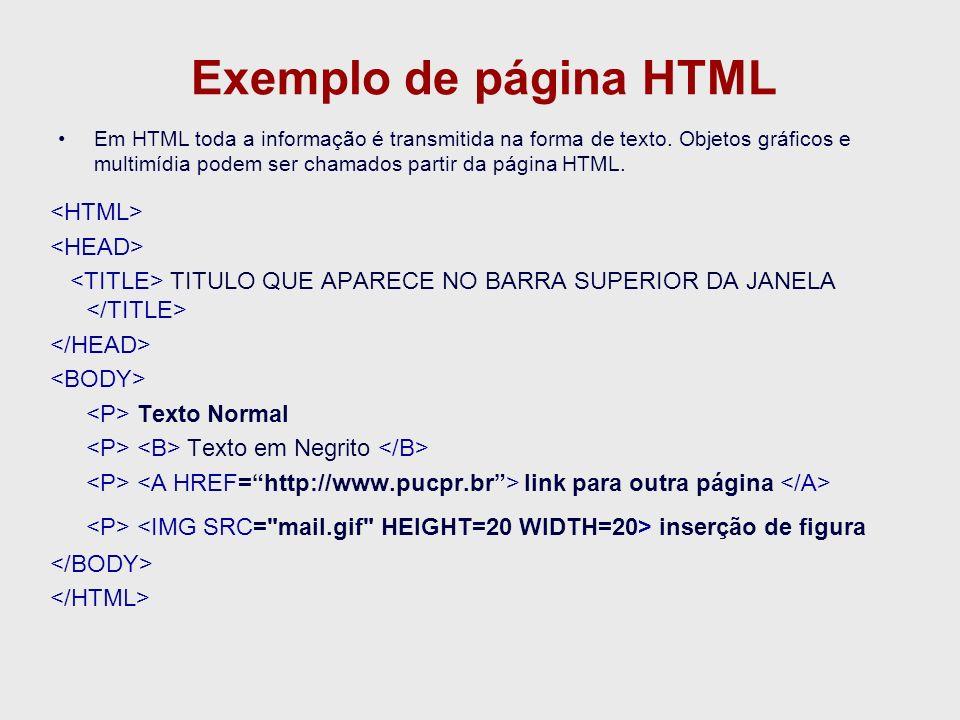Exemplo de página HTML <HTML> <HEAD>