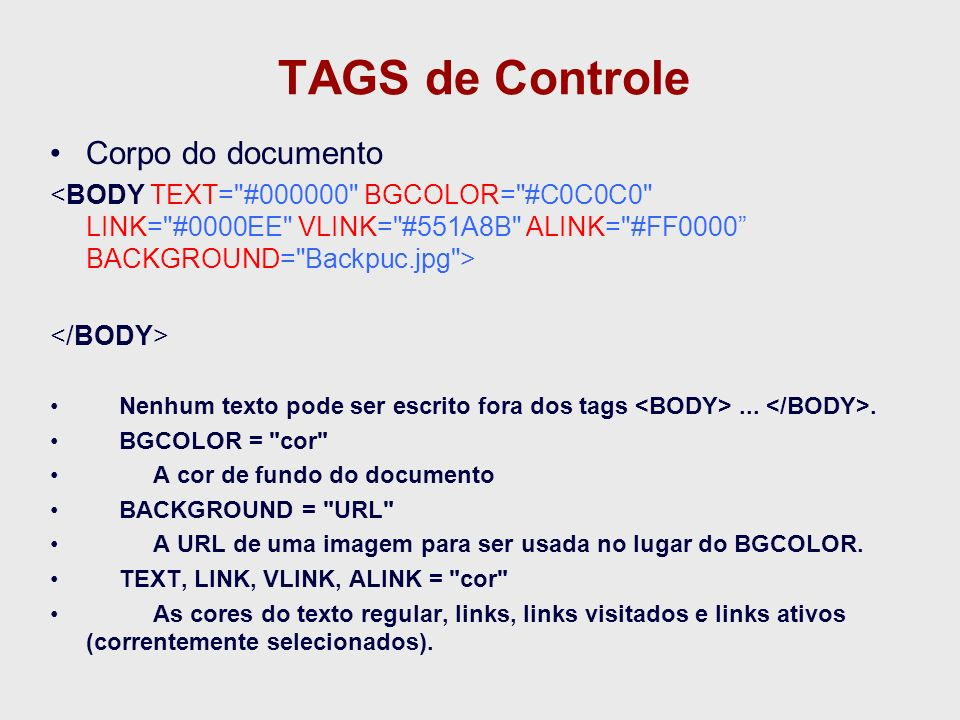 TAGS de Controle Corpo do documento