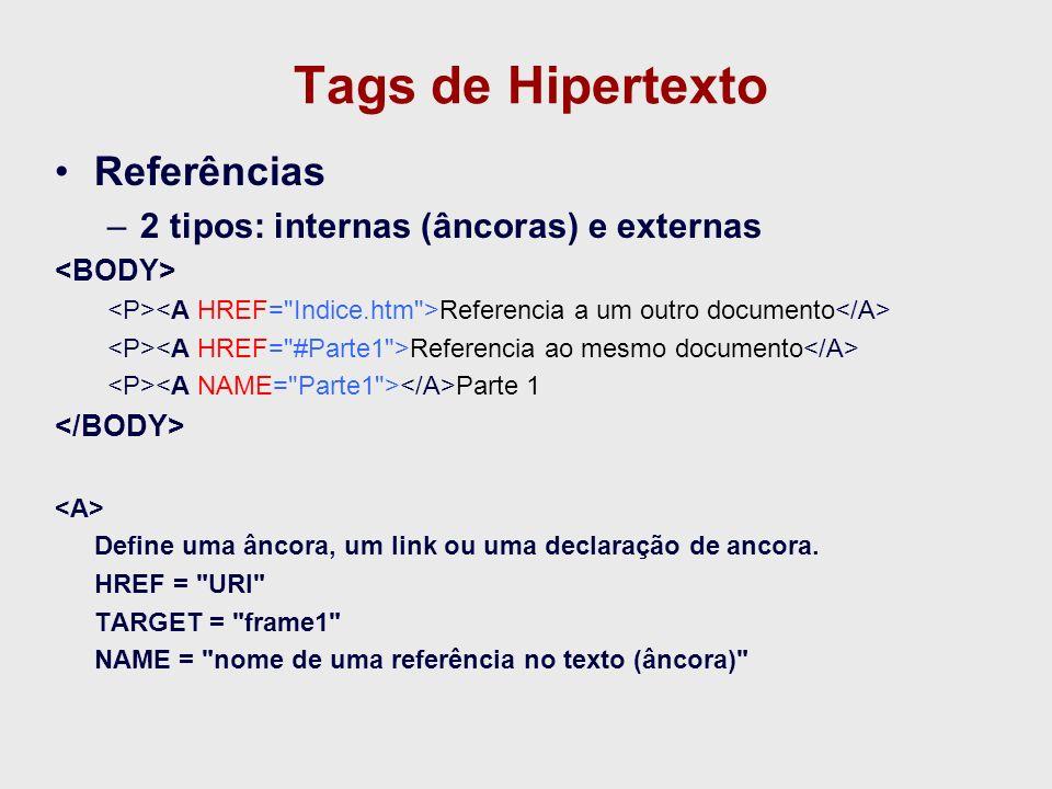 Tags de Hipertexto Referências 2 tipos: internas (âncoras) e externas