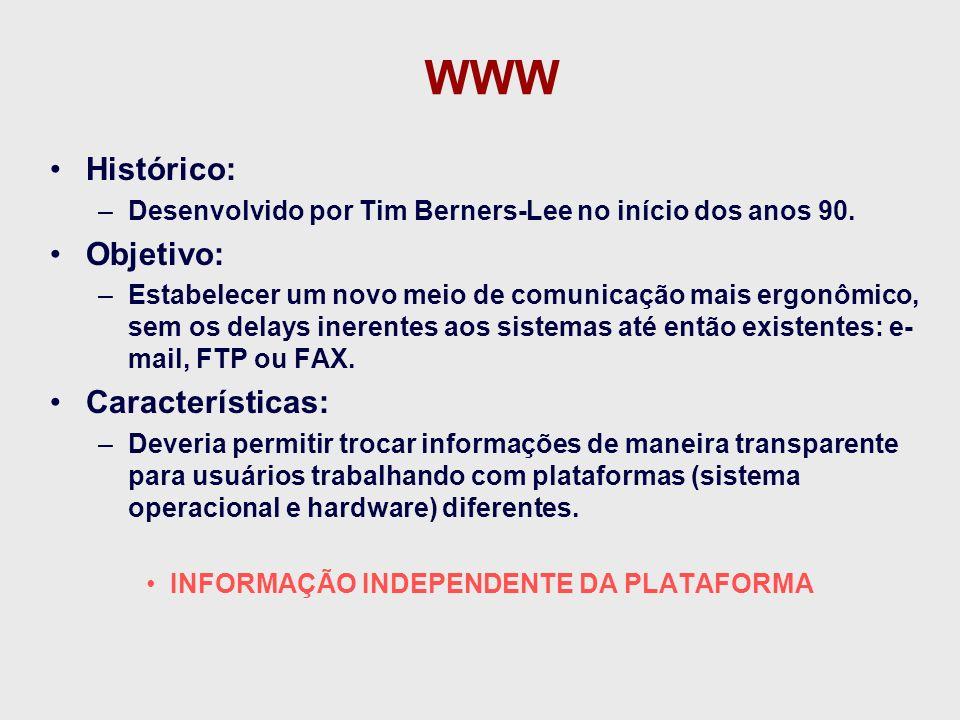 WWW Histórico: Objetivo: Características: