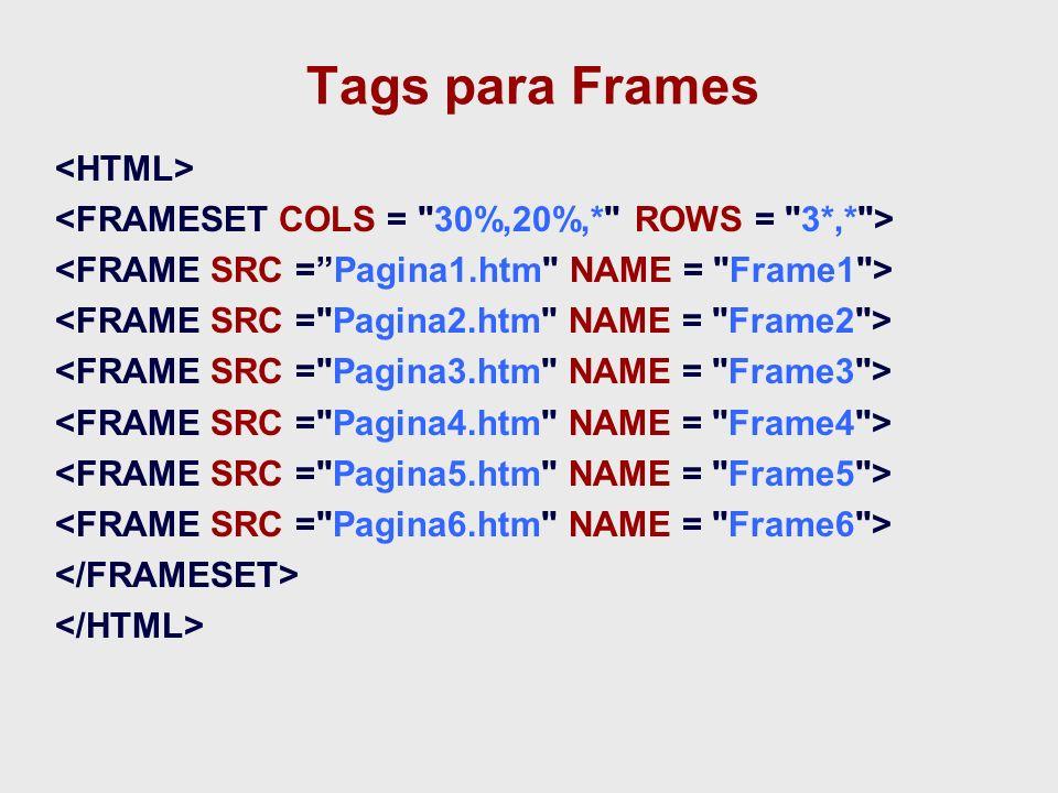 Tags para Frames <HTML>