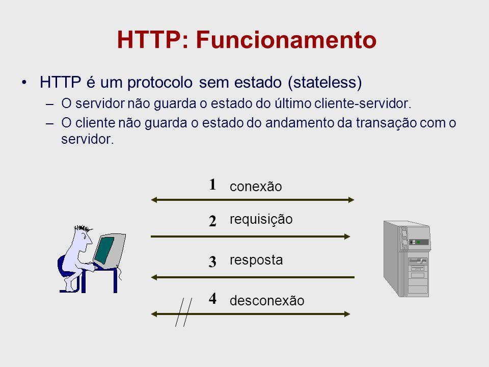 HTTP: Funcionamento HTTP é um protocolo sem estado (stateless) 1 2 3 4