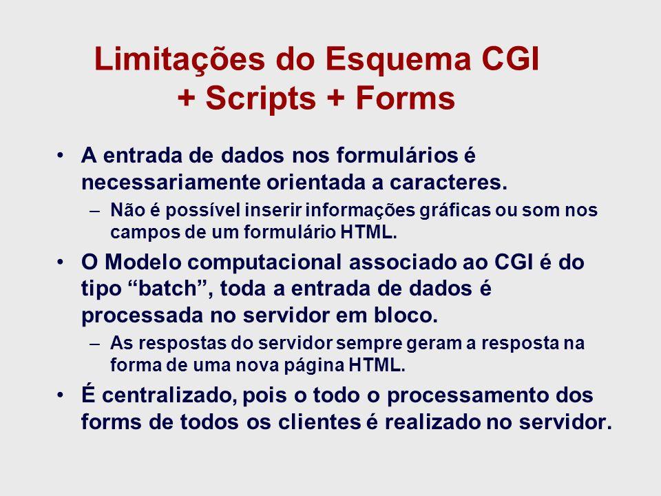 Limitações do Esquema CGI + Scripts + Forms