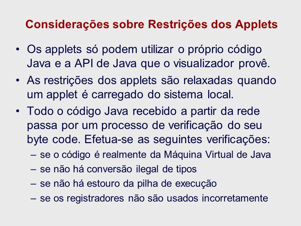 Considerações sobre Restrições dos Applets