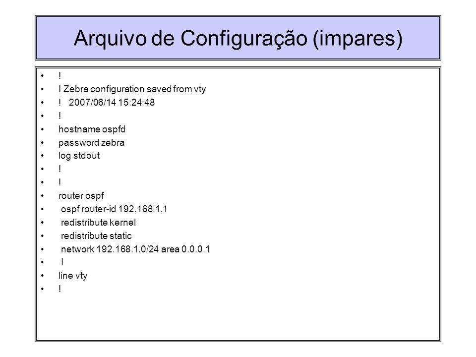 Arquivo de Configuração (impares)