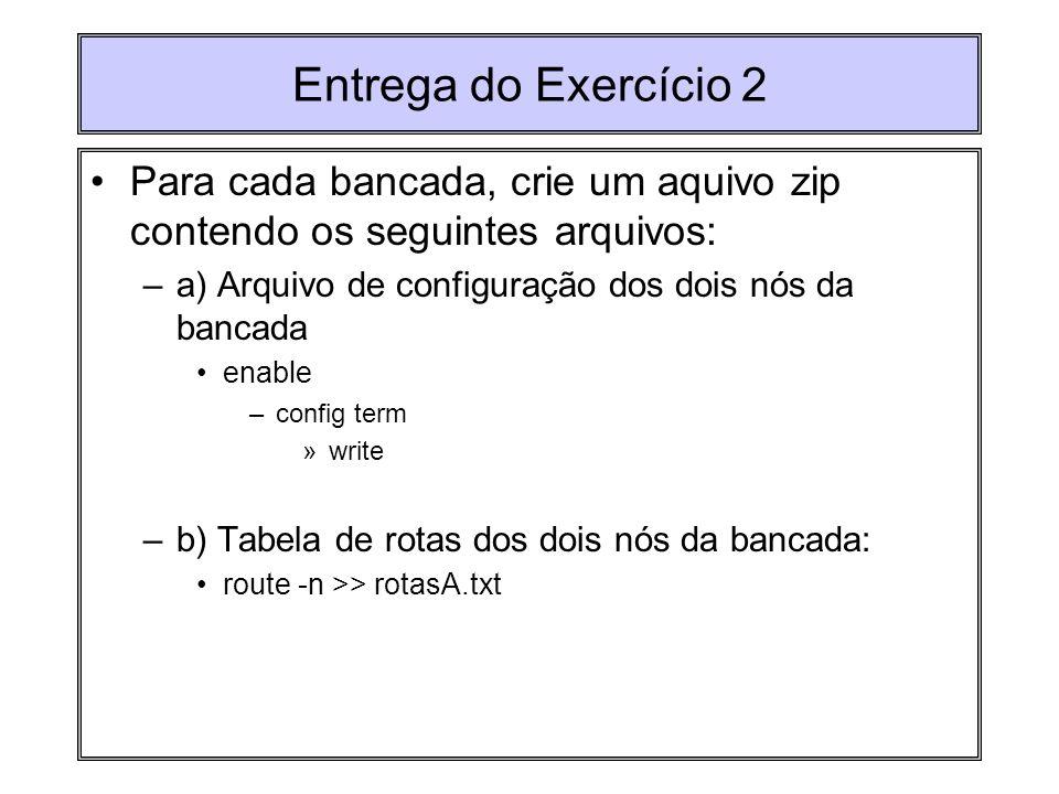 Entrega do Exercício 2 Para cada bancada, crie um aquivo zip contendo os seguintes arquivos: a) Arquivo de configuração dos dois nós da bancada.