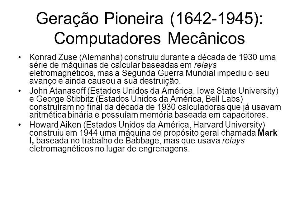 Geração Pioneira (1642-1945): Computadores Mecânicos