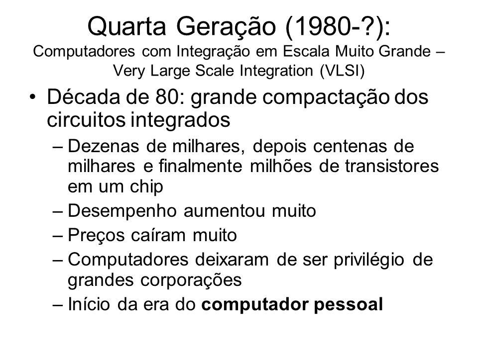 Quarta Geração (1980- ): Computadores com Integração em Escala Muito Grande – Very Large Scale Integration (VLSI)