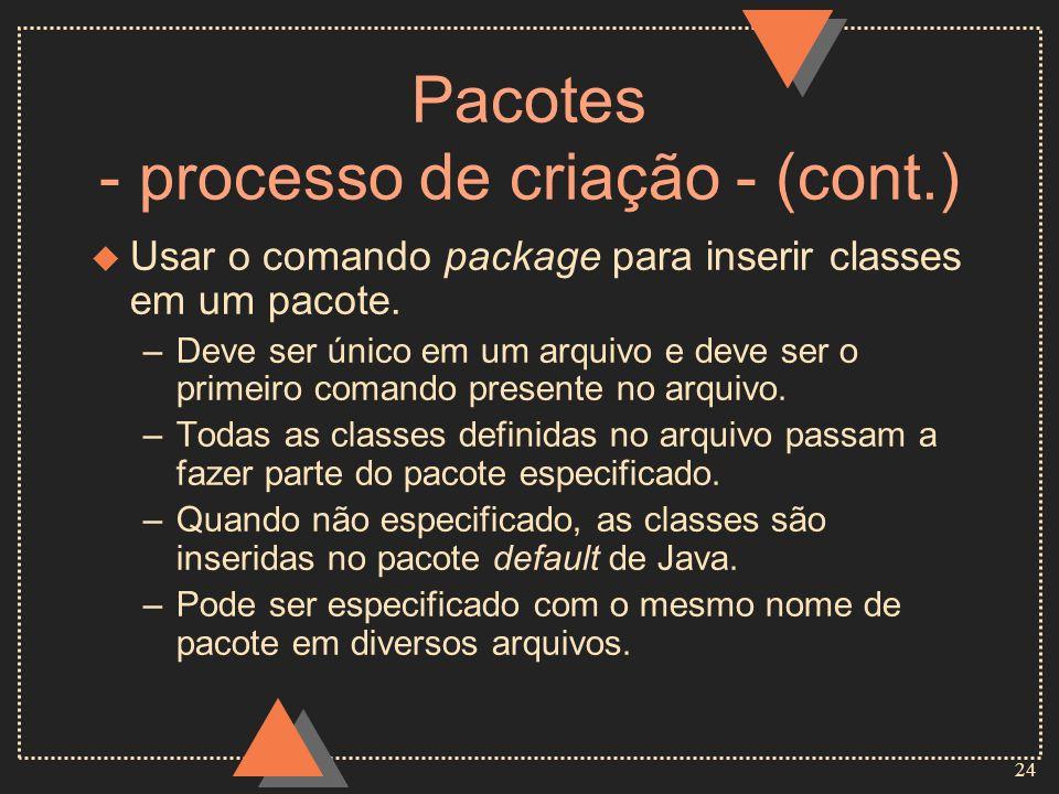 Pacotes - processo de criação - (cont.)