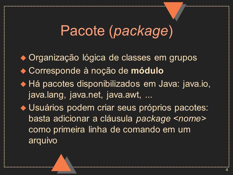 Pacote (package) Organização lógica de classes em grupos