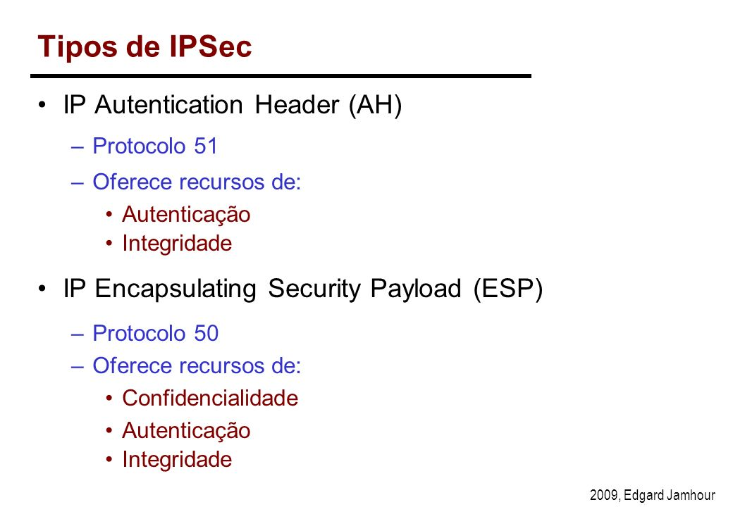 Tipos de IPSec IP Autentication Header (AH)