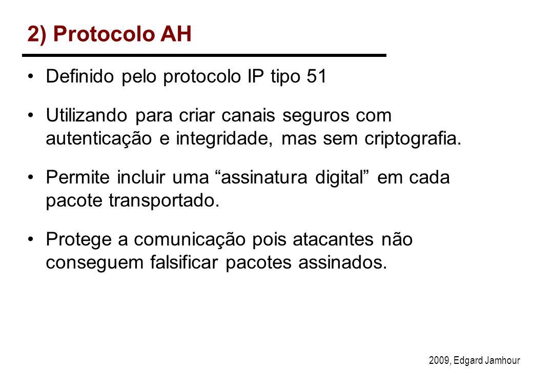 2) Protocolo AH Definido pelo protocolo IP tipo 51