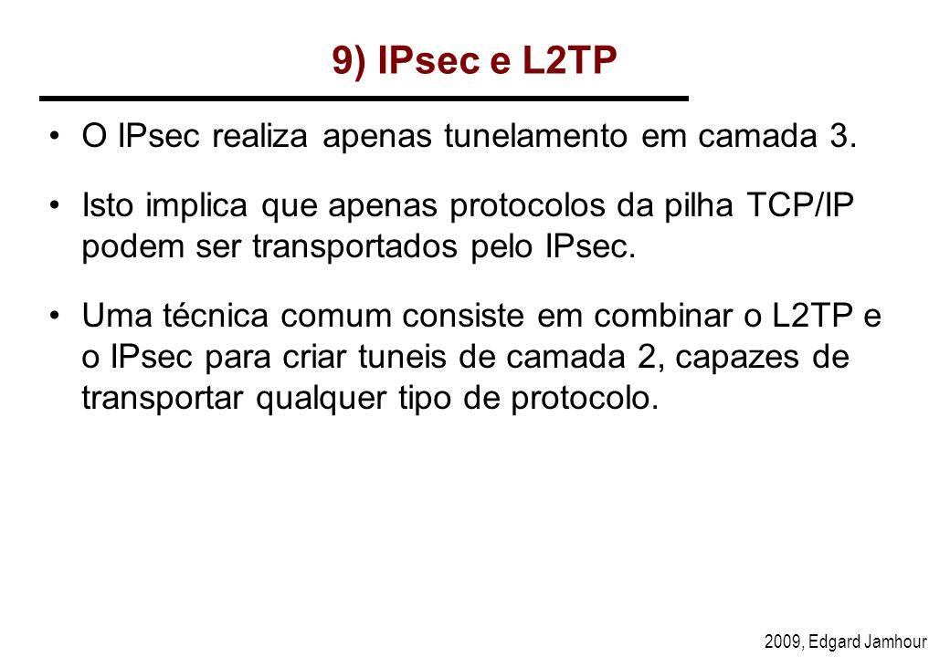 9) IPsec e L2TP O IPsec realiza apenas tunelamento em camada 3.