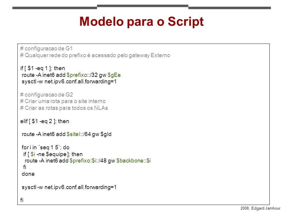Modelo para o Script # configuracao de G1