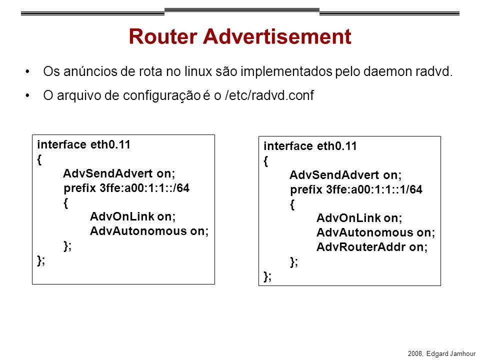 Router Advertisement Os anúncios de rota no linux são implementados pelo daemon radvd. O arquivo de configuração é o /etc/radvd.conf.