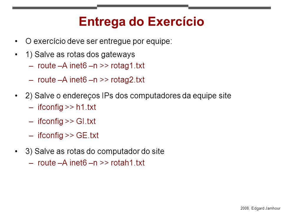 Entrega do Exercício O exercício deve ser entregue por equipe: