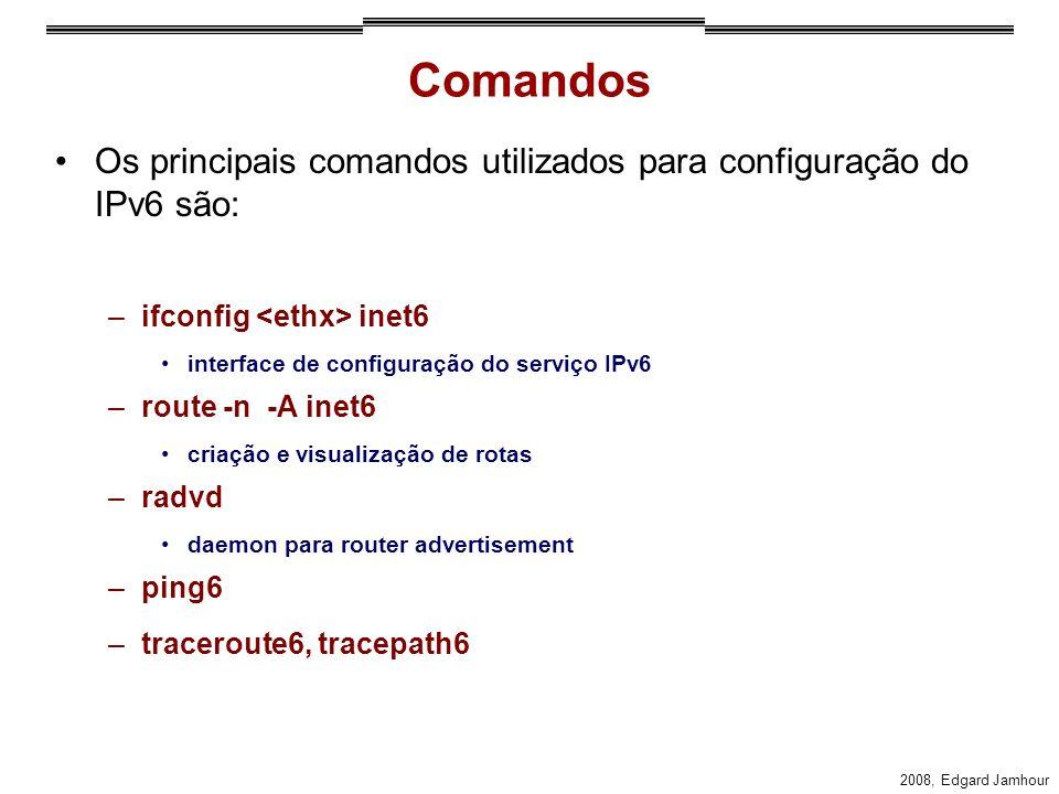Comandos Os principais comandos utilizados para configuração do IPv6 são: ifconfig <ethx> inet6. interface de configuração do serviço IPv6.