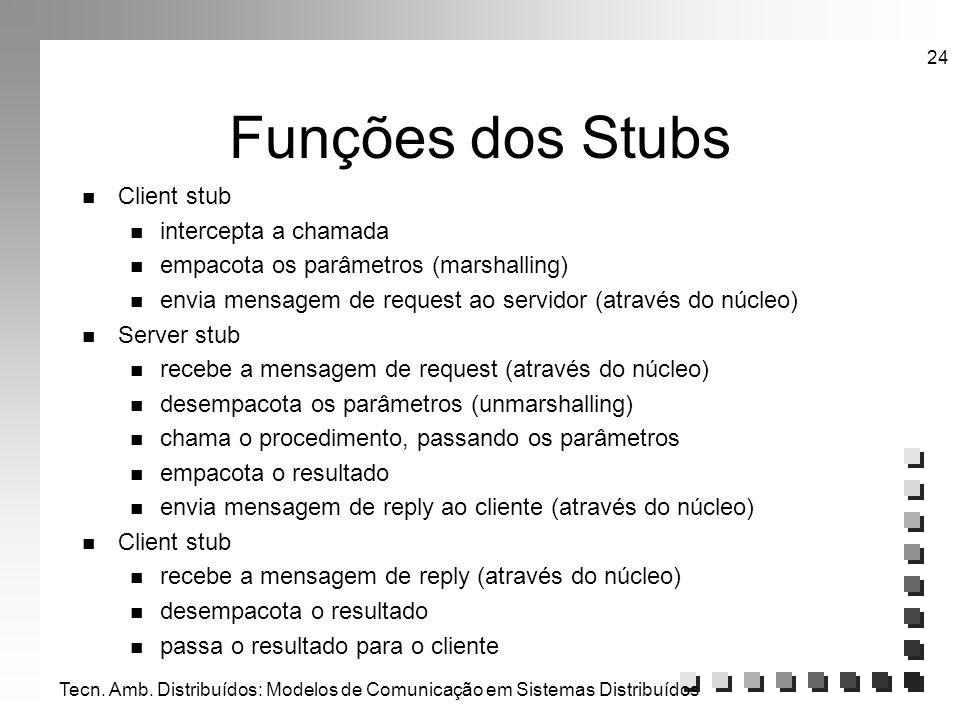 Funções dos Stubs Client stub intercepta a chamada