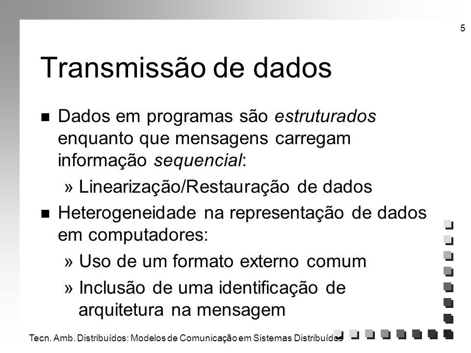 Transmissão de dados Dados em programas são estruturados enquanto que mensagens carregam informação sequencial: