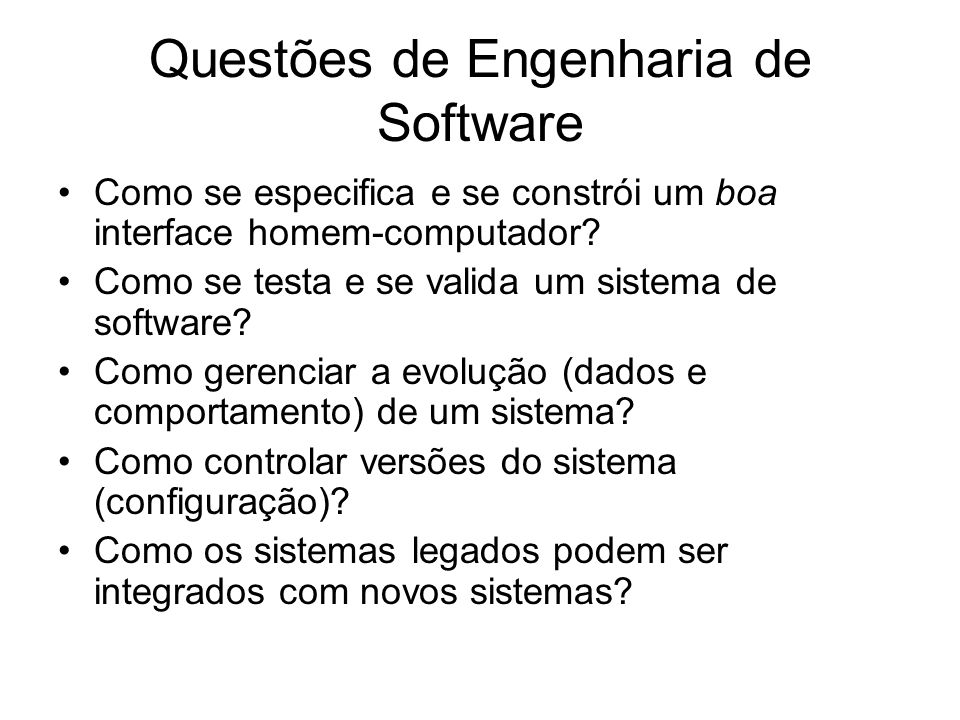 Questões de Engenharia de Software