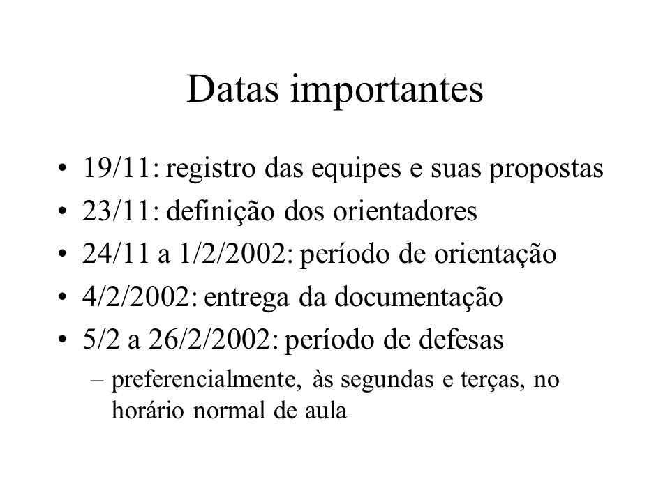 Datas importantes 19/11: registro das equipes e suas propostas