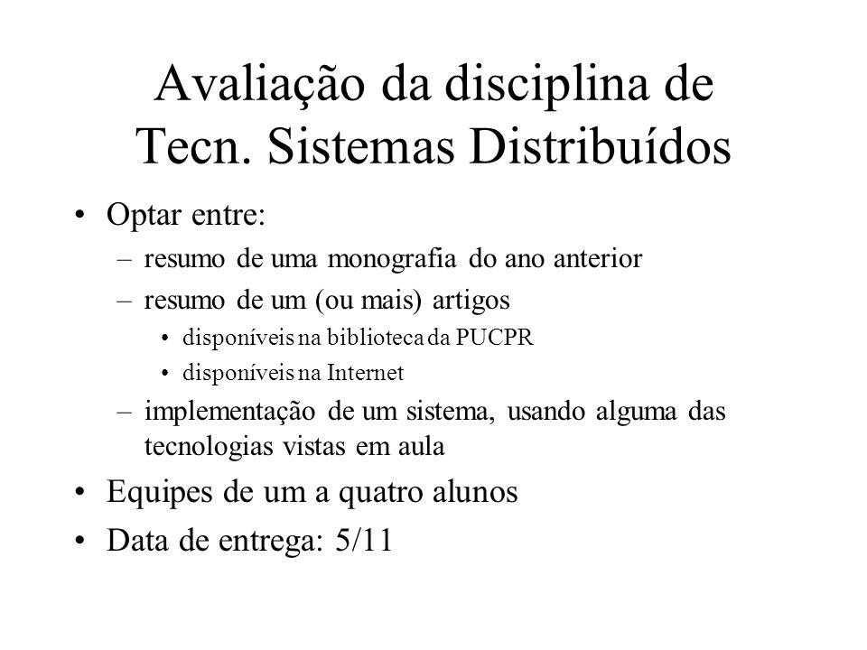 Avaliação da disciplina de Tecn. Sistemas Distribuídos