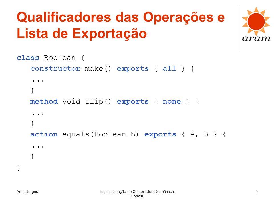 Qualificadores das Operações e Lista de Exportação