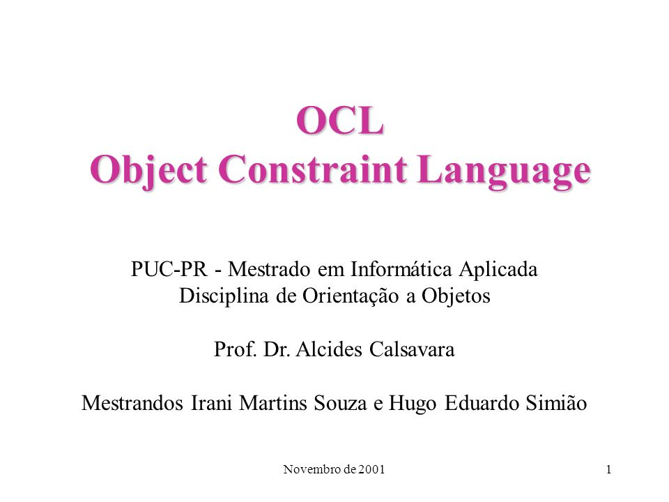 OCL Object Constraint Language