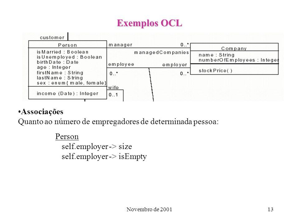 Exemplos OCL Associações