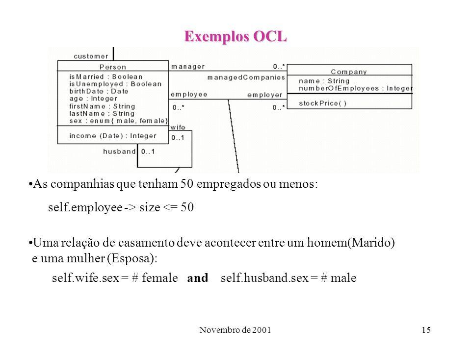 Exemplos OCL As companhias que tenham 50 empregados ou menos:
