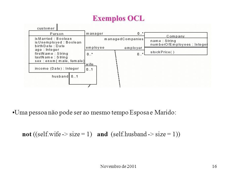 Exemplos OCL Uma pessoa não pode ser ao mesmo tempo Esposa e Marido: