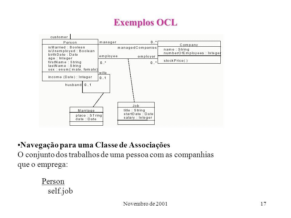 Exemplos OCL Navegação para uma Classe de Associações