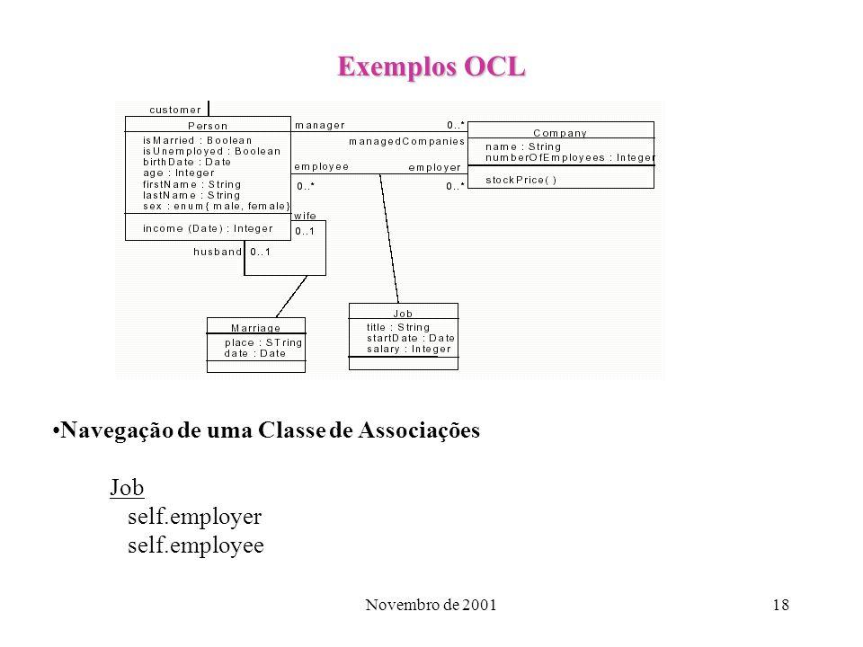 Exemplos OCL Navegação de uma Classe de Associações Job self.employer